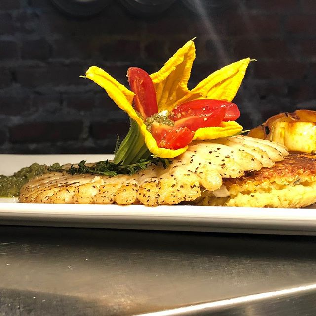 Pan seared skate, squash blossom stuffed with goat cheese, pumpkin seed pesto served with grilled delicata squash  #spoonfeed #foodie #nyfoodie #nomnom #foodporn #eat #hudsonheights #delicious