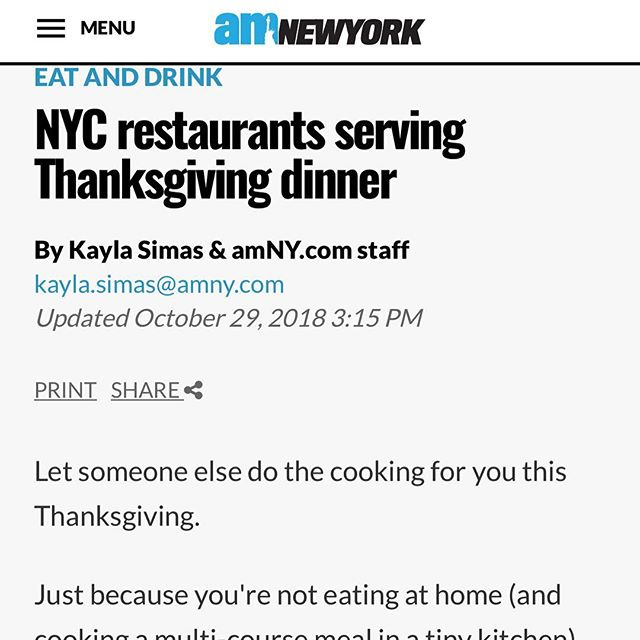 Thanks AM New York for listing us in places to go for Thanksgiving Dinner!  https://www.amny.com/eat-and-drink/nyc-restaurants-serving-thanksgiving-dinner-1.9614326  #thanksgiving #thanksgivingdinner #nomnom #eat #eating #celebrate #family #harvest #nycthanksgiving