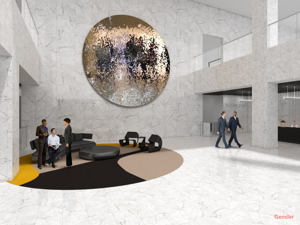The lobby's digital interactive mirror was inspired by British sculptor Anish Kapoor. The mirror's intent is to reflect movement from the lobby and encourage interactions within the community and the building.