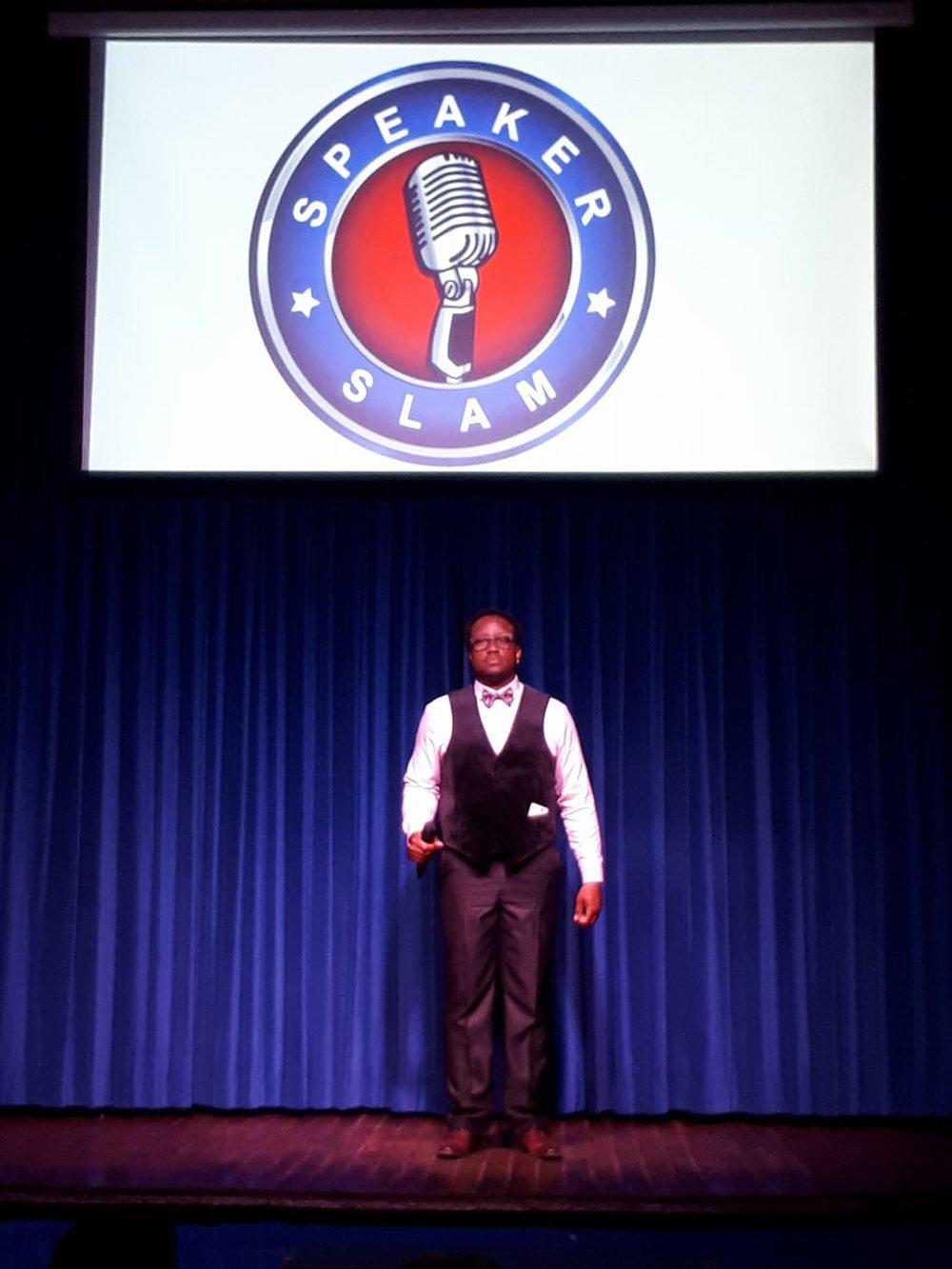 Greg Frankson at Speaker Slam pitch competition on June 19 at Revival.