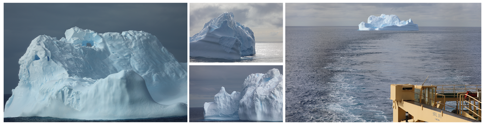 Icebergs are made of freshwater ice and compacted snow. They typically originate from the breakup of glaciers and ice shelves that terminate in the ocean.
