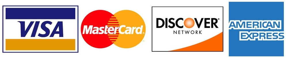 - We accept all major credit cards