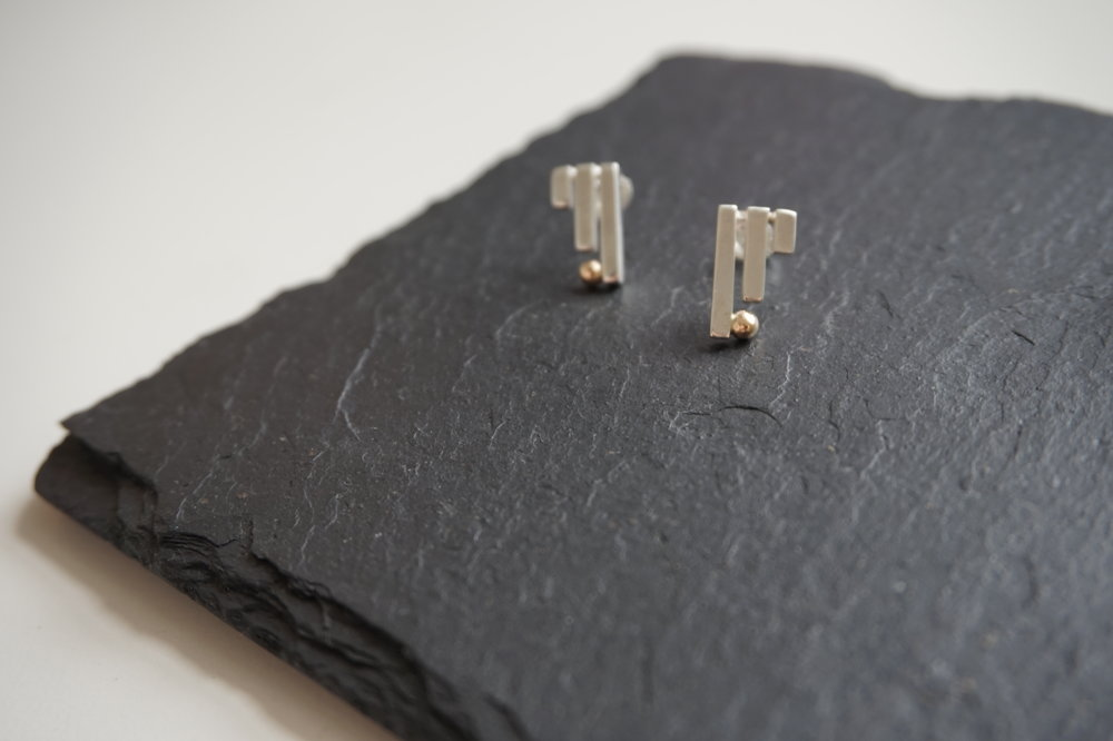 NINE Silver & Gold Stud Earrings