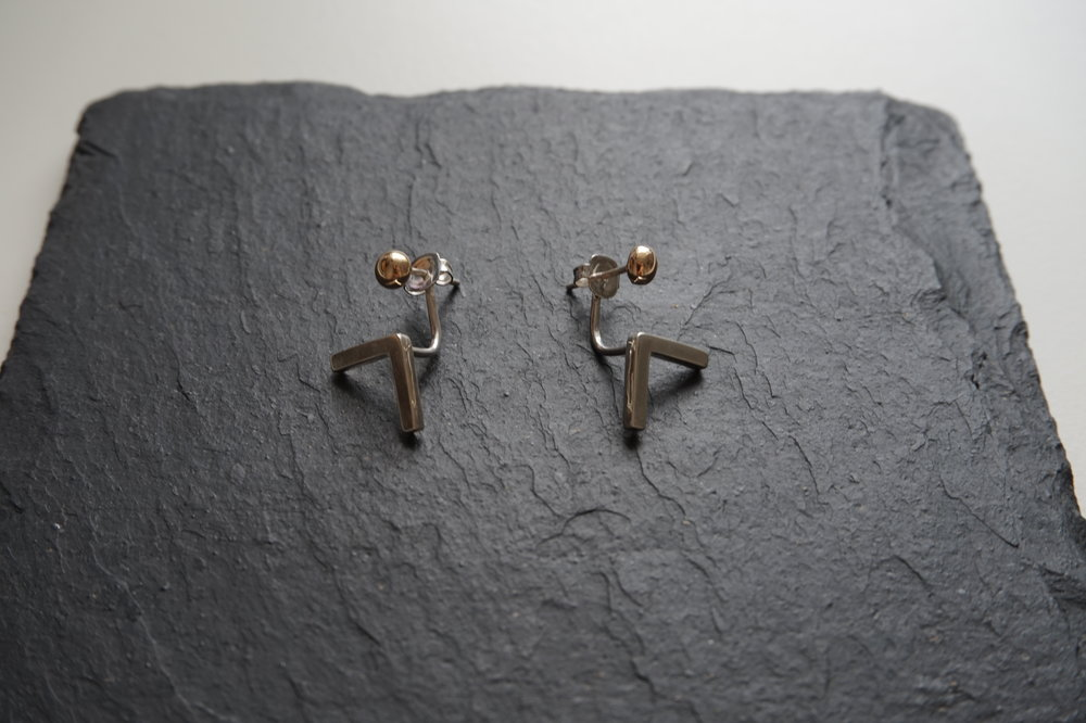 NINE Silver & Gold Front Back Stud Earrings