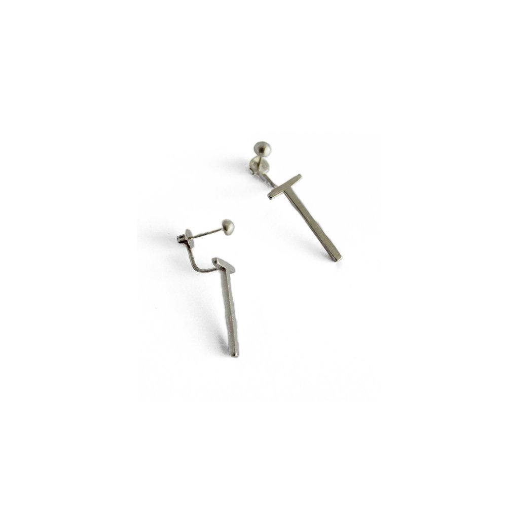 TWELVE Silver Front BAck Long Earrings