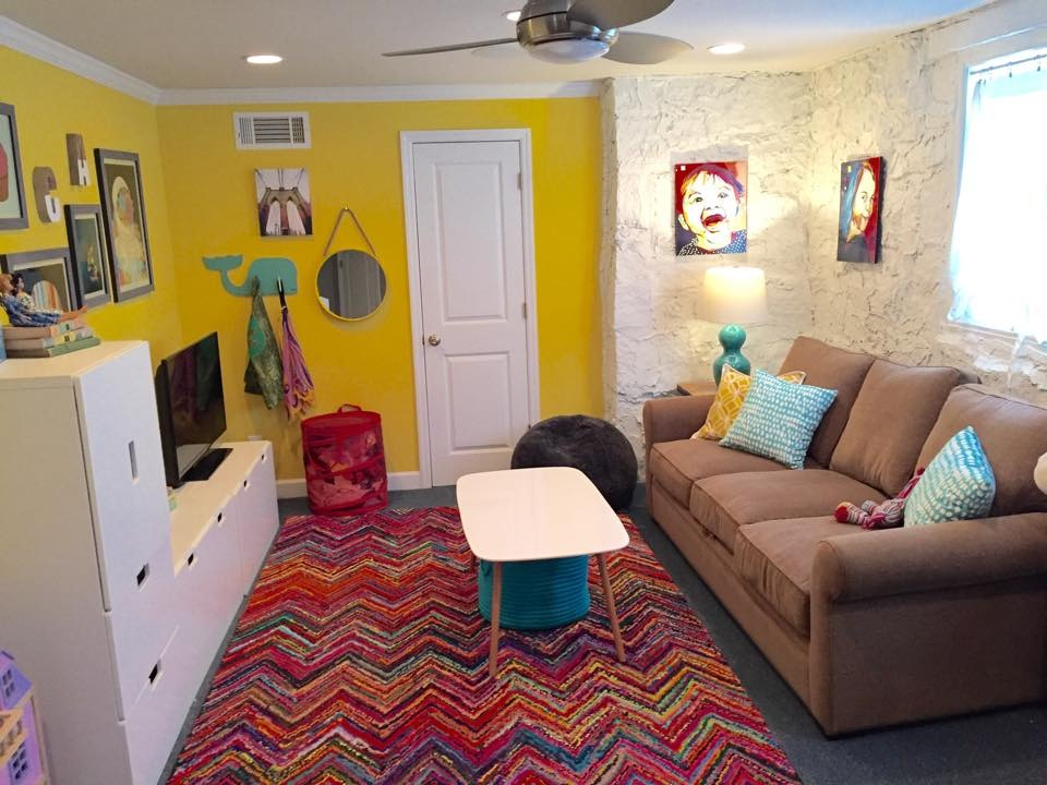 The rug served as the inspiration for this basement playroom