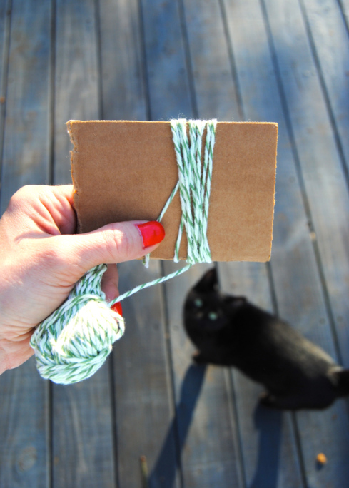 Step 1: Wrap yarn around a 4 inch piece of cardboard about 20 times. (Warning: Cats will appear out of nowhere)