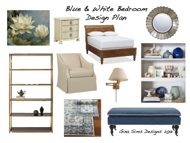 Blue and White Bedroom Design Plan