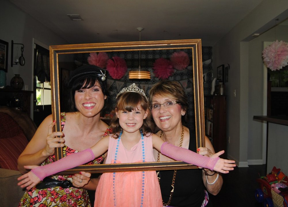 Three generations of fancy! Me, the princess herself, and the original Queen Mum!