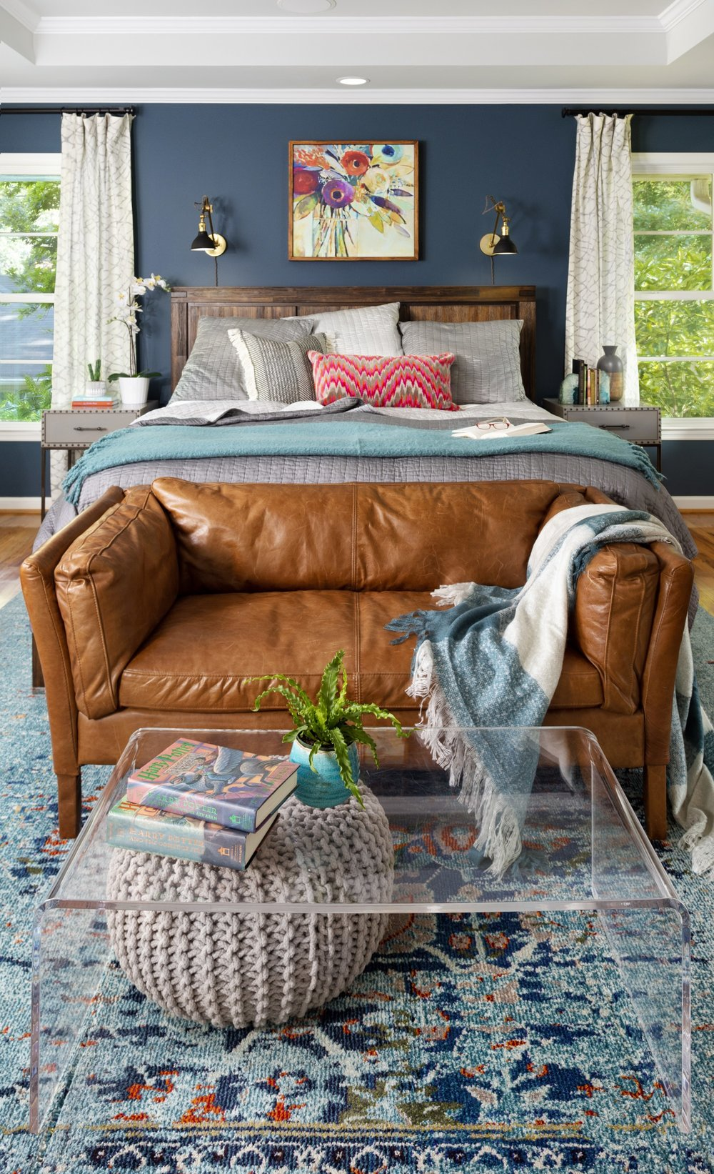 A color-saturated, comfortable, adult bedroom. Photo credit: Cati Teague Photography for GSD.