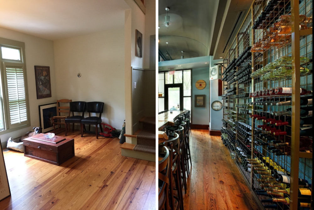 The perfect space for the bar in my client's home was inspired by the wine rack at Local Three. (Image credit, Right:  Zagat )