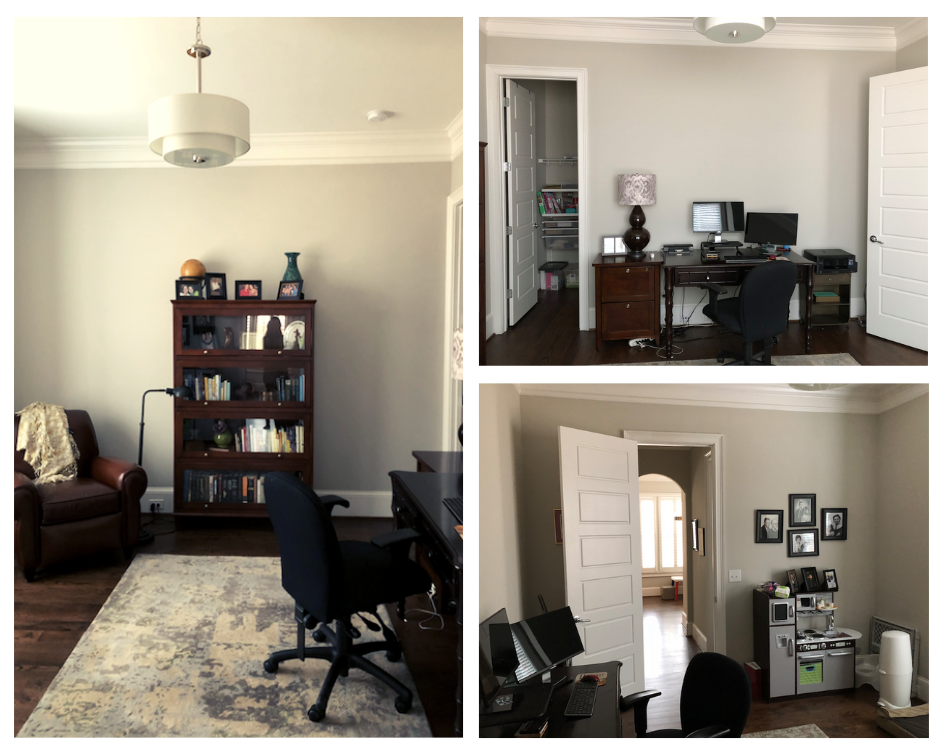 Basic office furniture lacked a defined style, and the layout meant my client stared at the wall.