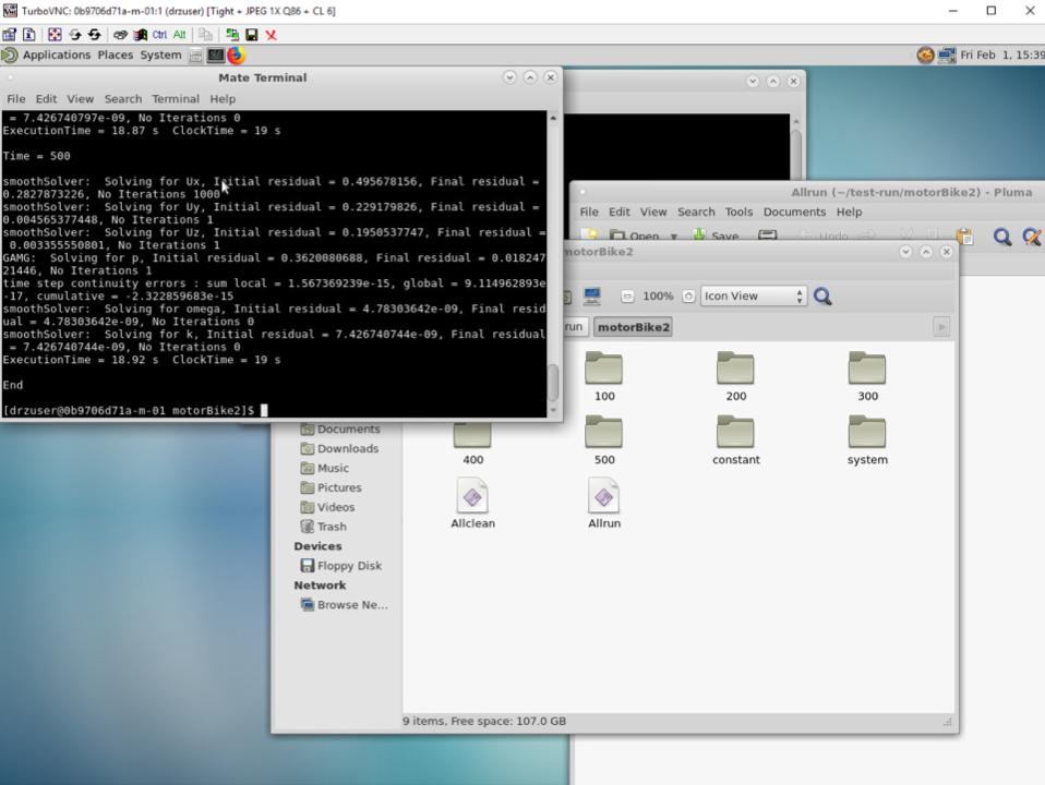 Remote desktop view of the master node.