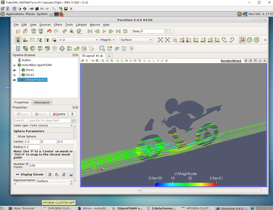 Post-processing the CFD results from OpenFOAM using ParaView on HPCBOX and graphical cluster nodes.