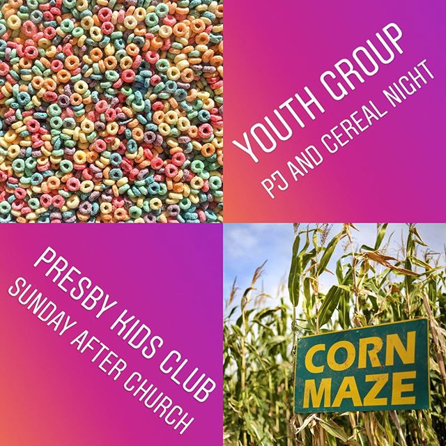Two awesome things happening this week: SUNDAY: corn maze after church (K-12th) MONDAY: youth group pj and cereal party 6-8 PM (6th-12th) Message us for questions or details. Join us!!!