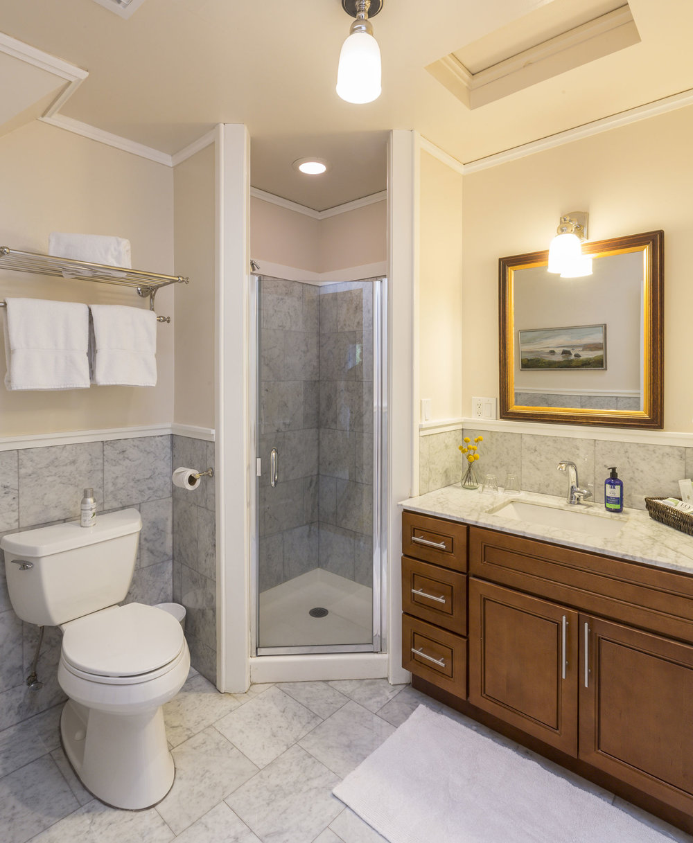 The newly remodeled bathroom in the Briar Rose room