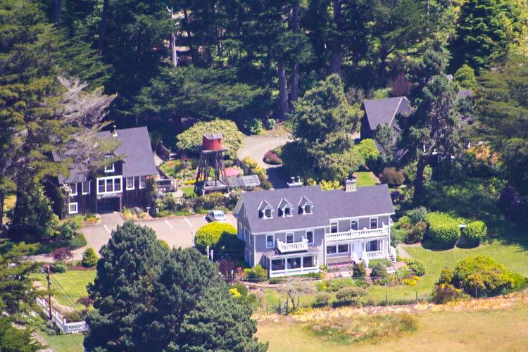 A bird's eye view of the Glendeven Inn Mendocino ocean-view estate