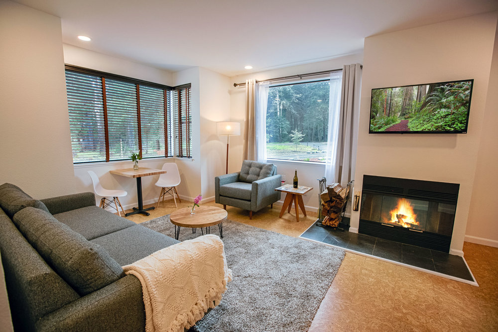 Room 101 at The Lodge at Glendeven Inn & Lodge outside of Mendocino with fireplace and seating area
