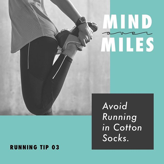 Cotton is a big no-no! Once cotton gets wet, it stays wet.  This increases your risk of blisters. The best running socks are ones made from synthetic materials such as polyester, acrylic, and CoolMax.  These fabrics wick moisture away from your skin! • 👩🏼🎨: @notori_ous • • Source: Verywell Fit