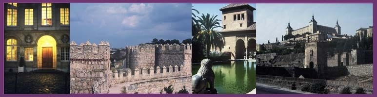 Copyright 1995 Mark A. Wilson.  Left to right: Musee National Picasso, Medieval Walls of Avila Spain,  Lion statue fountain at the Alhambra Castle, City walls and castle at Toledo.