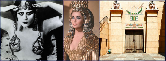 Left to right: Theda Bara Cleopatra | Liz Taylor in Cleopatra | Grauman's Egyptian Theatre, Los Angeles