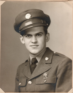 """My father, Donald"""" """"Drew Wilson"""" in the uniform of the 398th. Engineers Regiment, just after completing his training at Fort Dix, New Jersey, at the age of 18, in the Fall of 1943."""