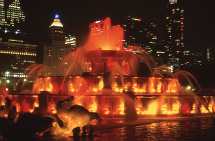 Buckingham Fountain in Grant Park, with the light show that runs from April through October.
