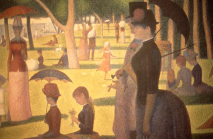 """A Sunday on La Grande Jatte"" by Georges Seurat, 1886, at the Art Institute of Chicago."