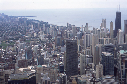 View of the skyline from Sears (Willis) Tower looking north, and east along the shoreline of Lake Michigan.