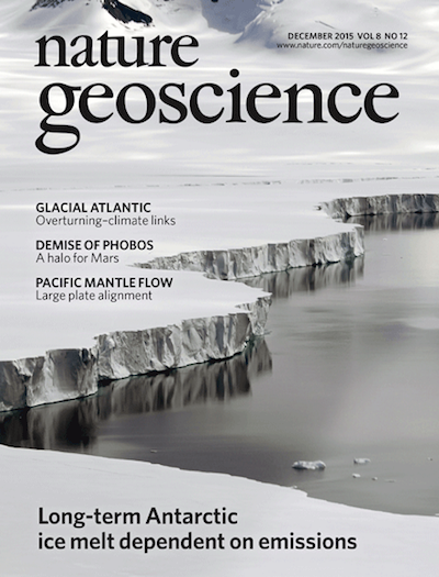 Article on Antarctic ice shelf melt evolution featured as lead cover story in December 2015 issue of  Nature Geoscience .