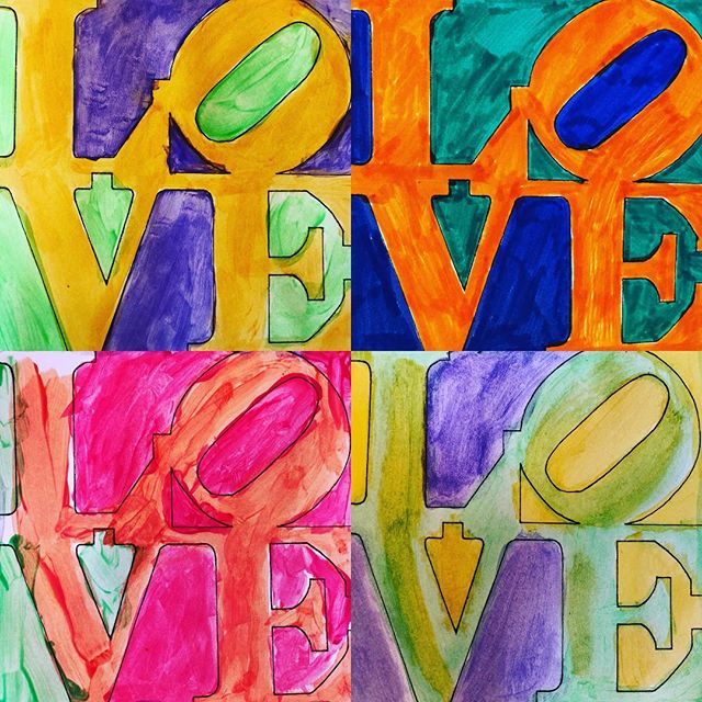 We studied Robert Indiana's famous LOVE image today. The kids were excited to find out that he grew up in Indiana too! #creativekids #robertindiana #robertindianalove #kidsartwork