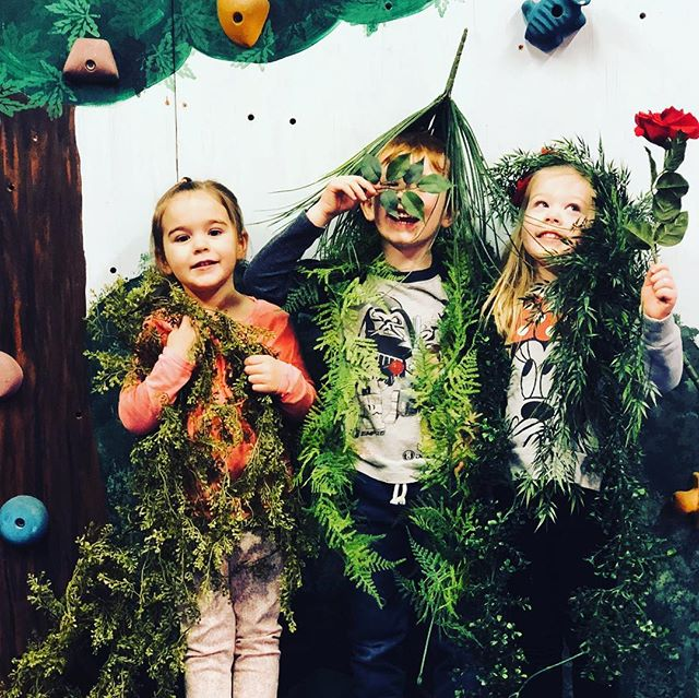 Camouflage kids in front of the climbing wall at @acrosgymnastics #creativekids #openendedplay