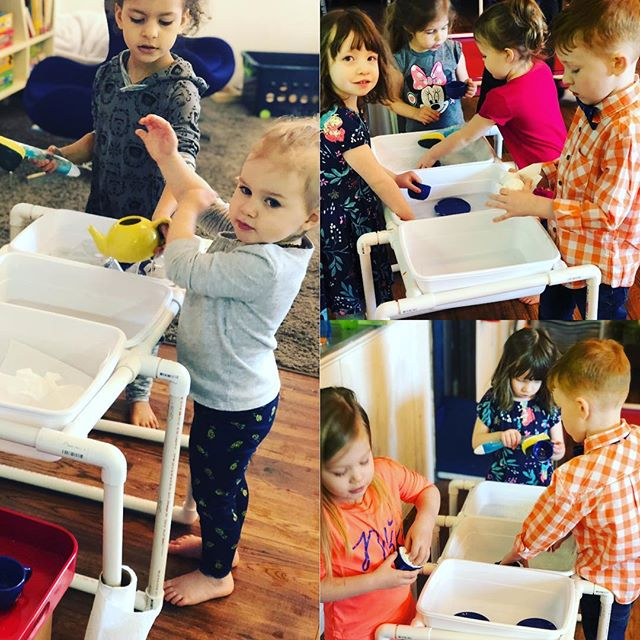 Our new pvc pipe washing station and sensory bin stand has been a big hit with kids. They've loved scrubbing the cups and saucers each day after tea time. #preschoolactivities #montessori #practicallifeskills