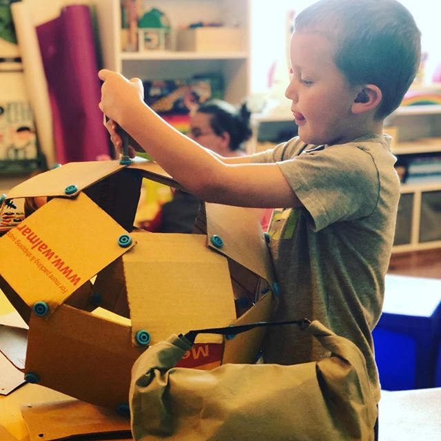 @makedo - Our preschoolers worked so hard poking holes and connecting squares to make this. We were attempting to make a sphere, but the kids were really proud of the shape they ended up with. #makedo #creativekids #preschoolactivities #openendedplay #cardboardtoys