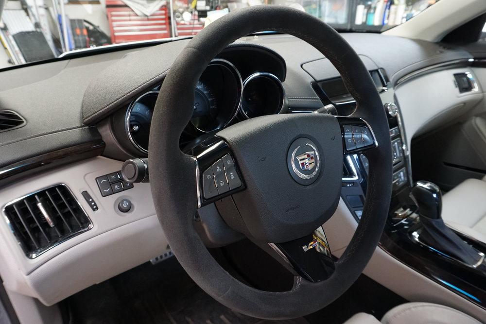 Alcantara steering wheel and shift knob