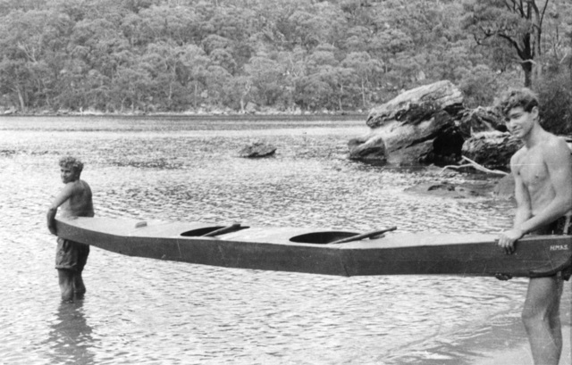 Refuge Bay Hawkesbury River NSW c1943 01 17 Two members of Z Special Unit Australian Services Reconnaissance Department prepare to enter the water with a two man canoe known as HMAS Lyon It was a home made exp.jpg