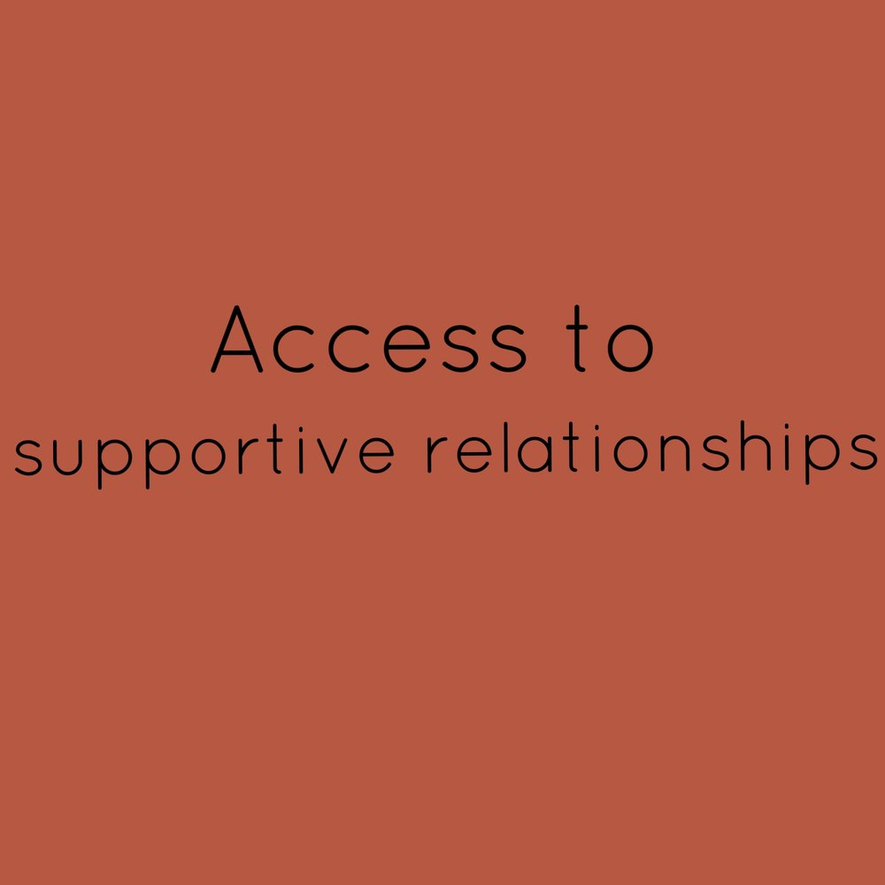 3. Access to supportive relationships