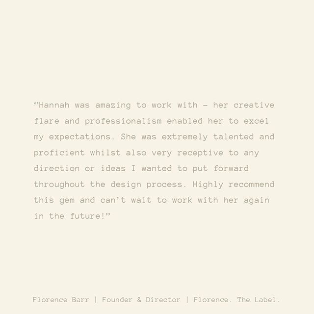 Kind words from the founder of @florence.thelabel 💕 What a joy to be able to work alongside such an amazing woman with incredible vision!