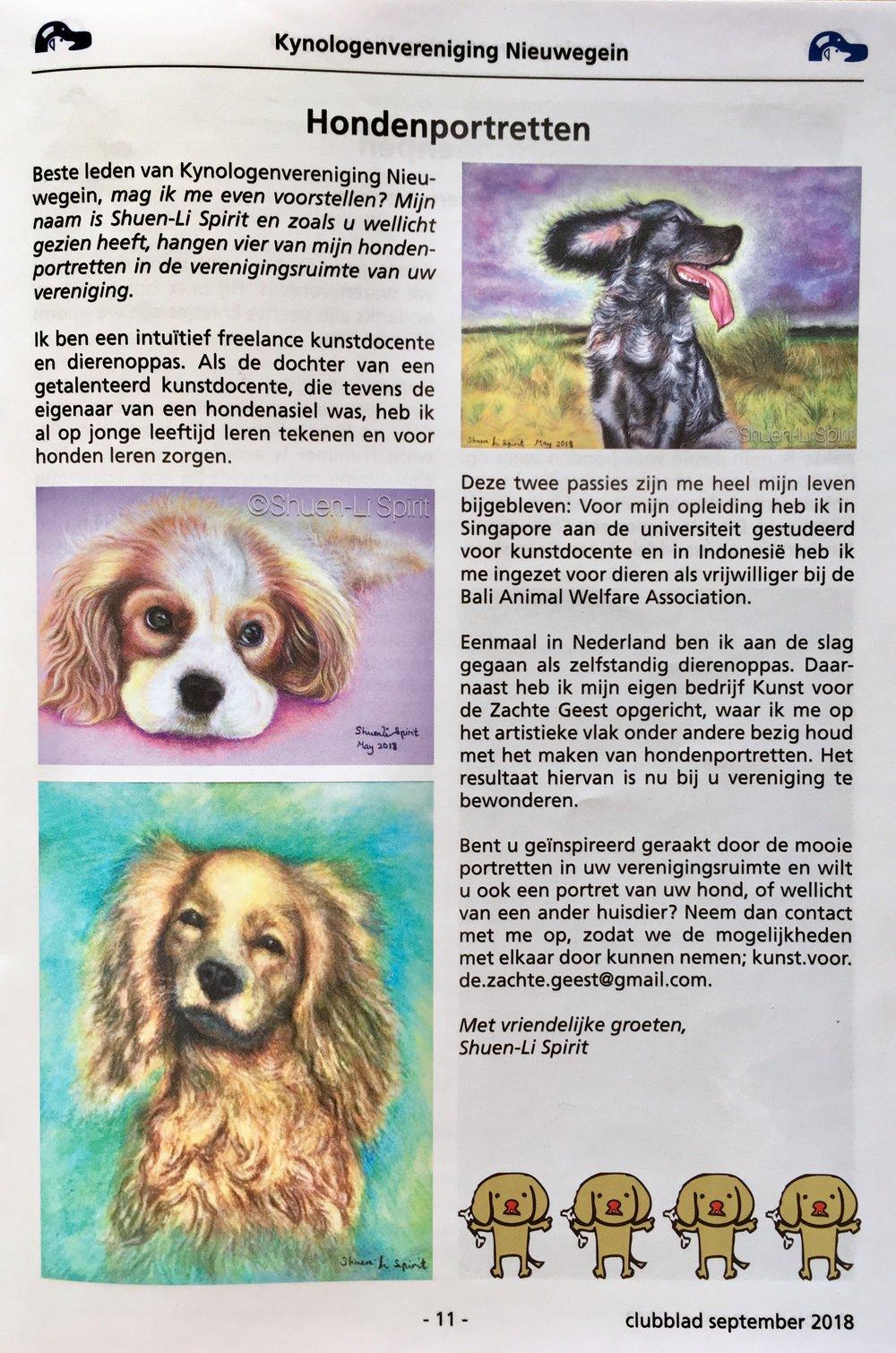 Kynologenvereniging Nieuwegein    Clubblad September 2018, jaargang 34, nummer 3