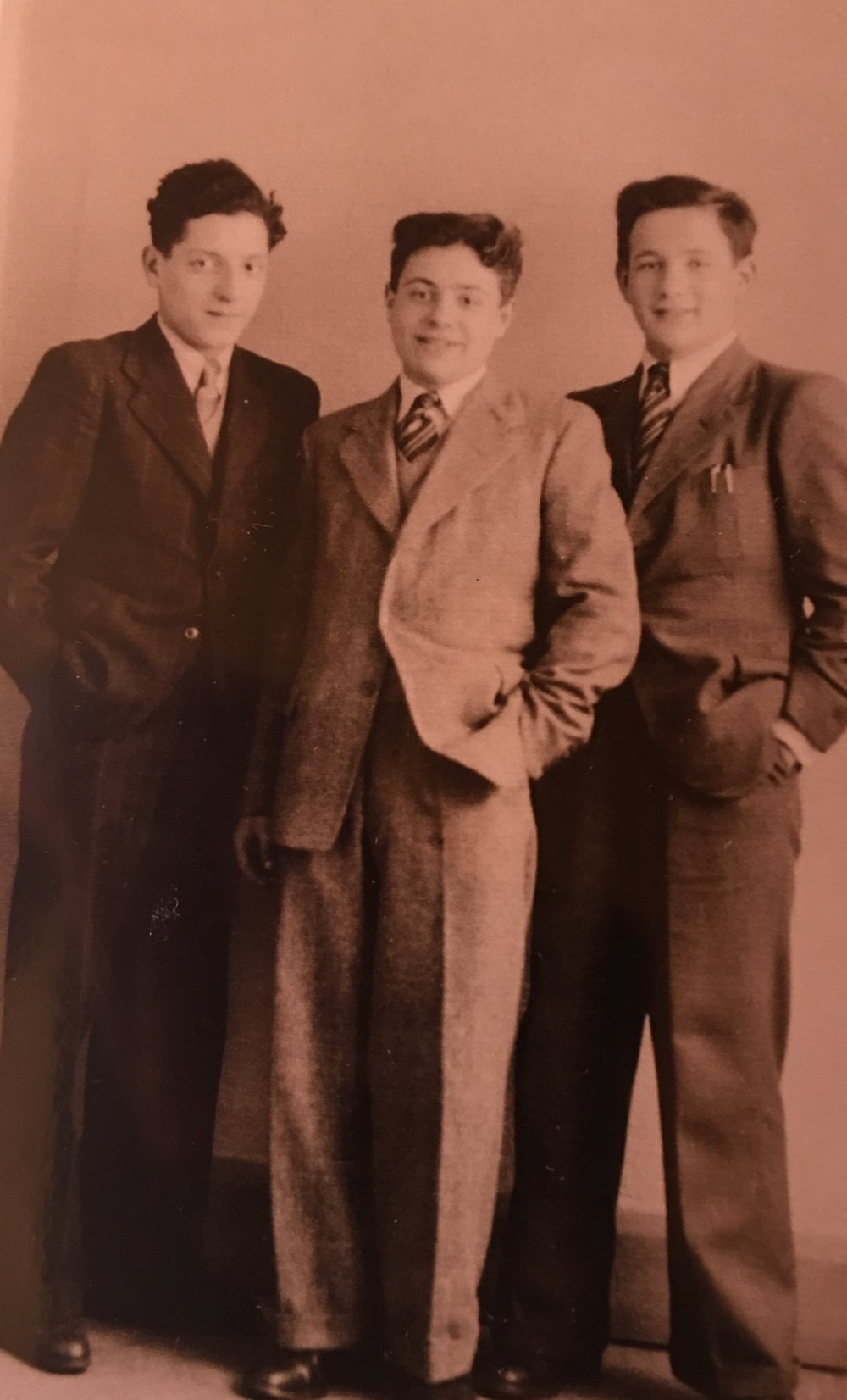 While at Ascot the boys were given suits by the tailoring firm Burton, and money to buy shoes. On the left is Martin Heyman. In the centre is Jacob Fersztand. The boy on the right is Natan Rolnik. Photo: Jacob Fersztand.
