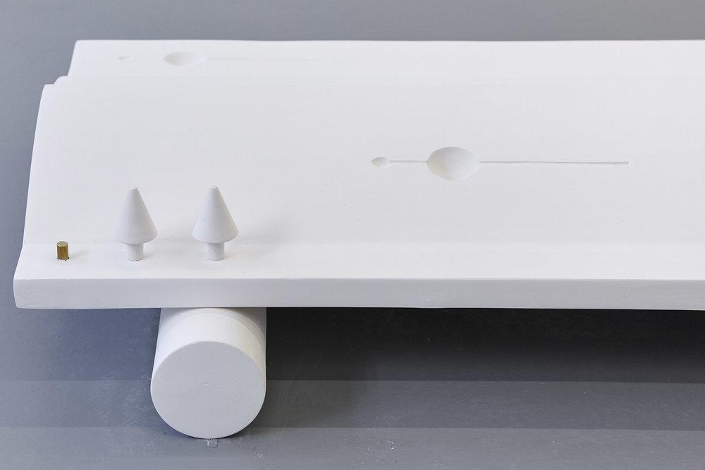 Acey Deucey , 2018 Plaster, household paint & brass 10 x 118 x 60cm