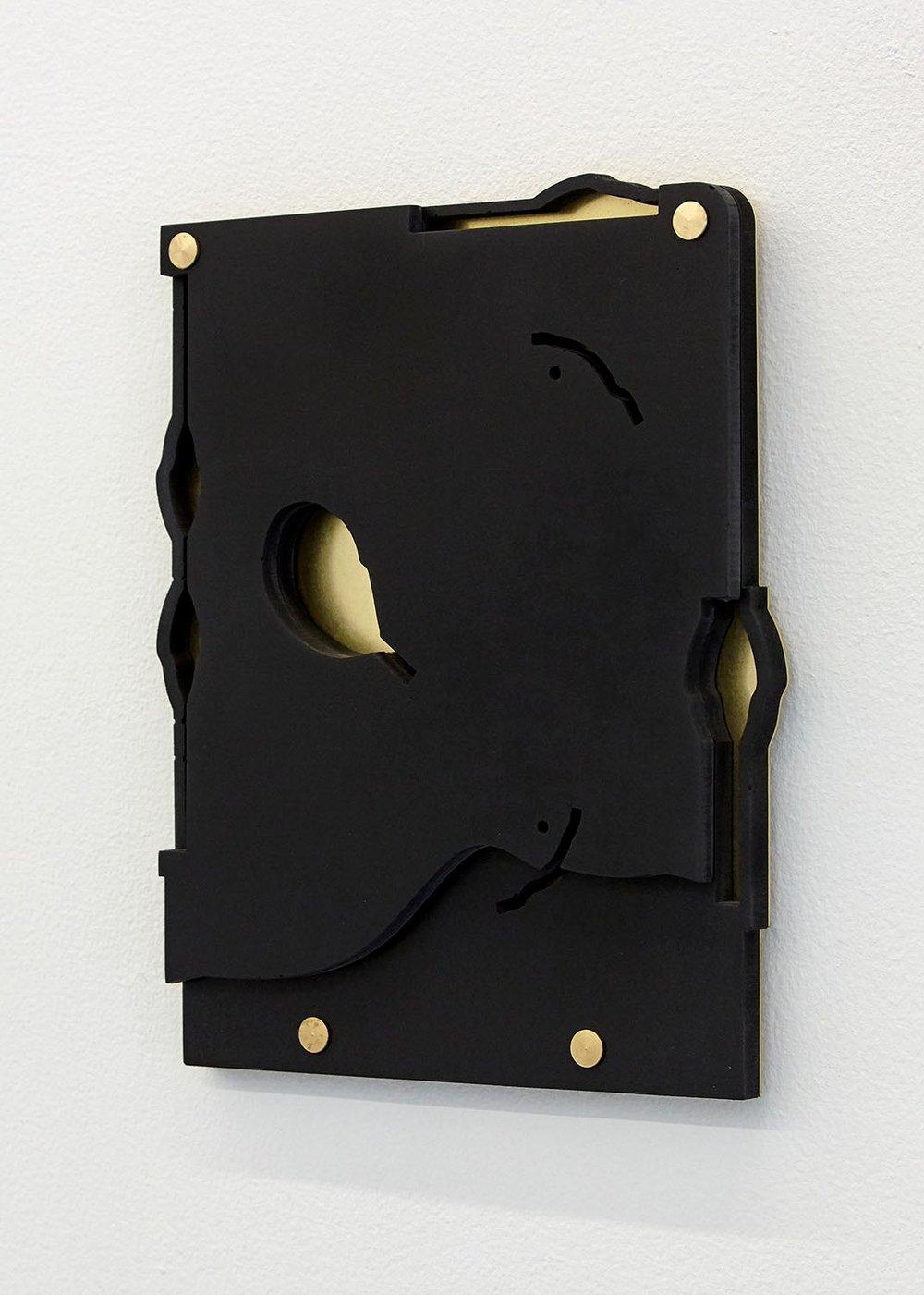 As If I Were  (black), 2018 Jesmonite & brass 21.5 x 18 x 1.8cm Edition of 5