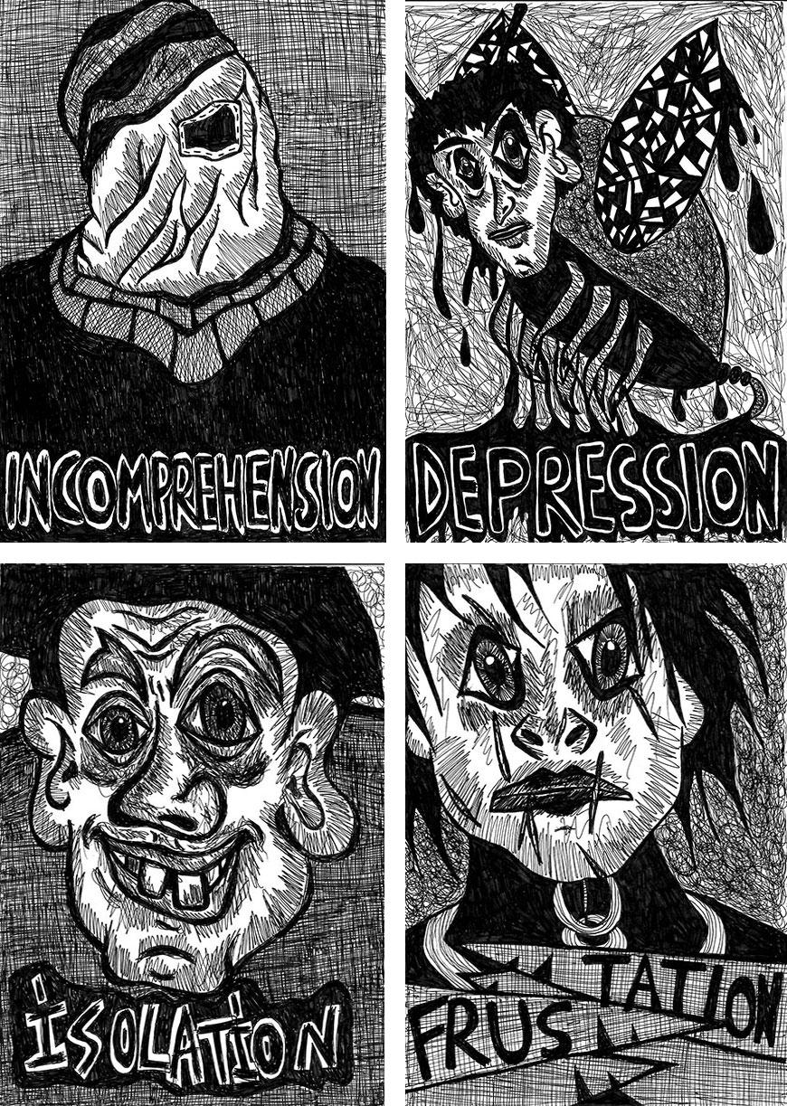 """Incomprehension   ""  ,    ""Depression"" ,  ""Isolation"" ,  ""Frustration"" , 2013   Pen on paper, 14.8 x 21 cm"