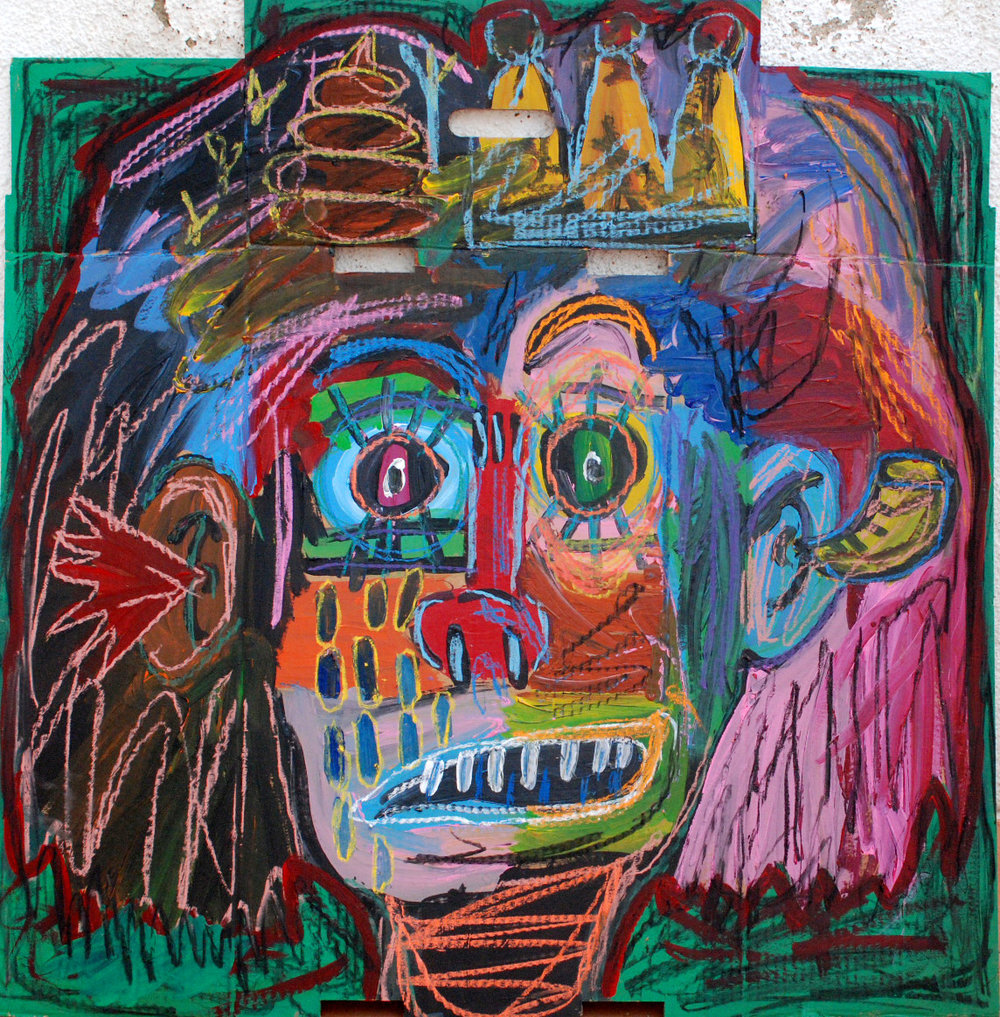 """Self-portrait"" , 2012   Acrylic paint and pastel on cardboard, 50 x 60 cm"