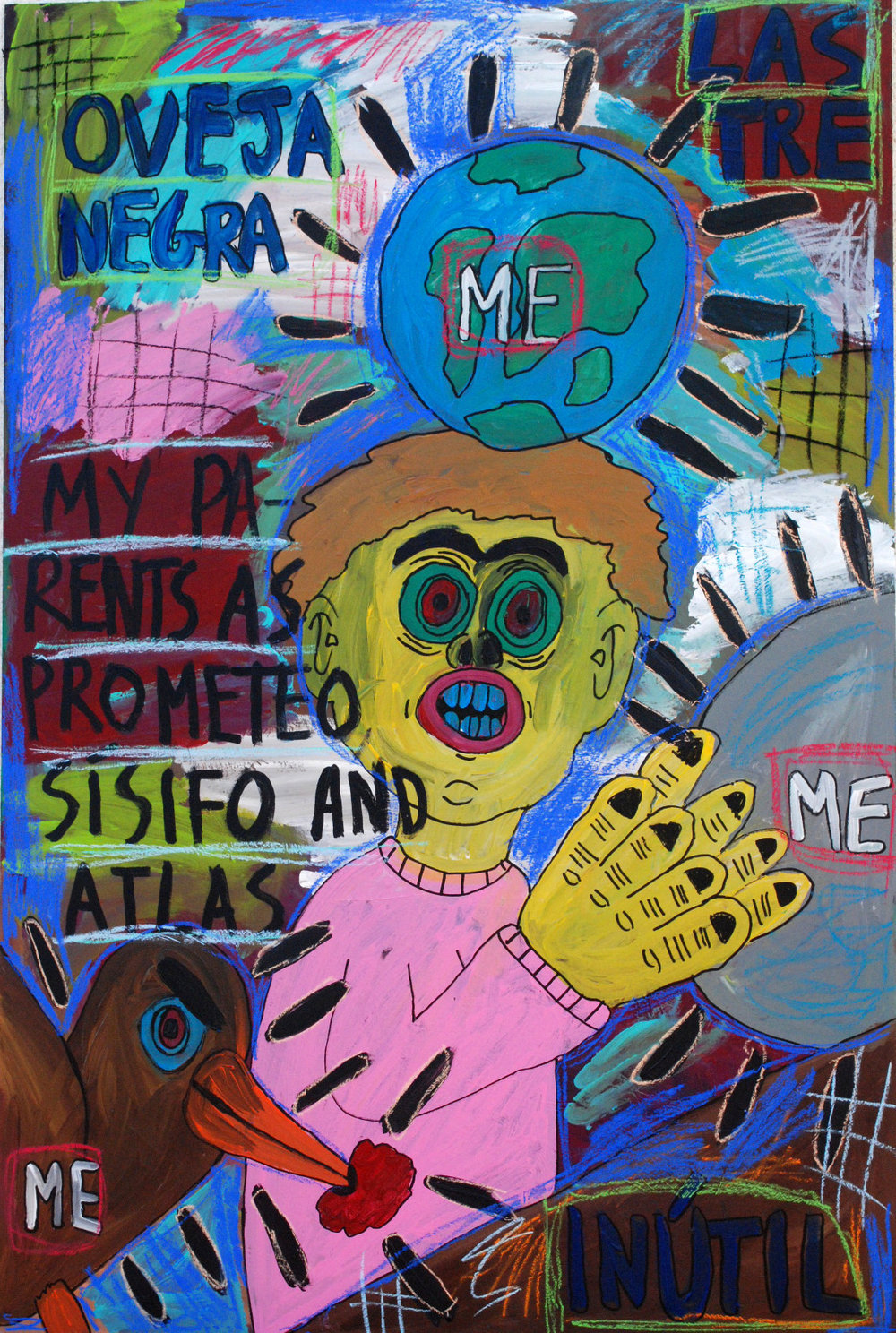 """My parents as Prometeo, Sísifo and Atlas"" , 2012   Acrylic paint and pastel on wood, 90 x 130 cm"