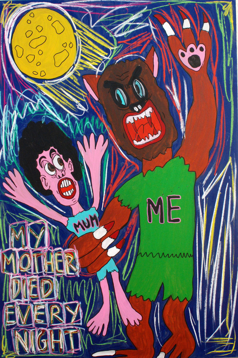 """My mum died every night"" , 2012   Acrylic paint and pastel on wood, 90 x 130 cm"