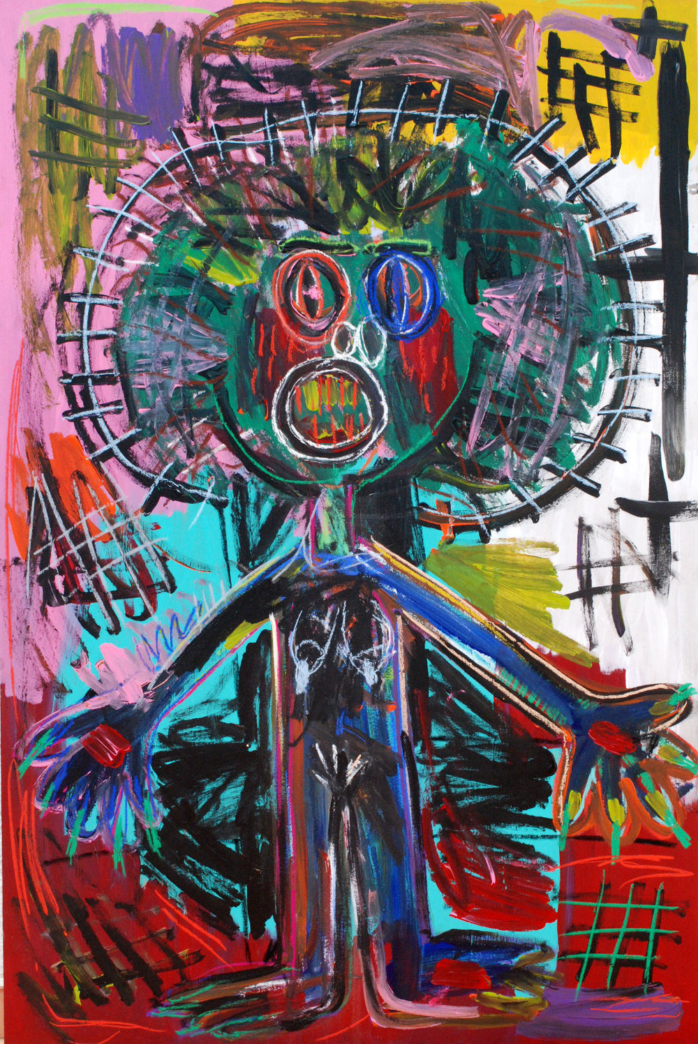 """Crucifixion"" , 2012   Acrylic paint and pastel on wood, 90 x 130 cm"