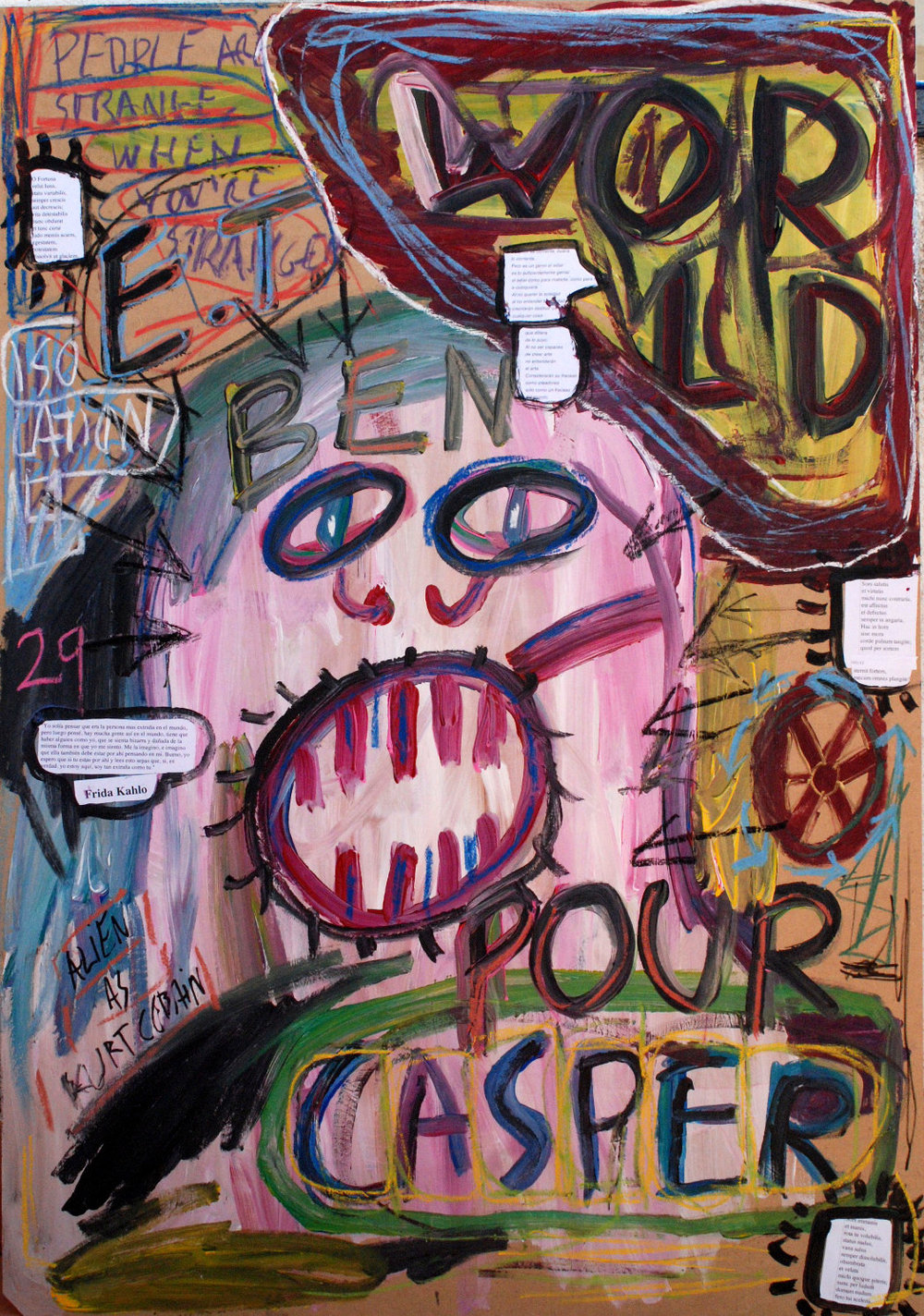 """No title"" , 2012   Acrylic paint, pastel and mixed media on wood, 50 x 110 cm"