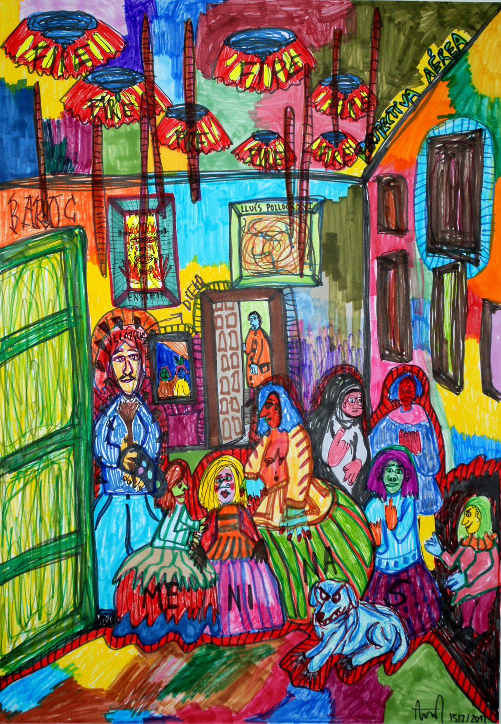 """""""Las Meninas"""" , 2012   Marker on paper, 42 x 59.4 cm"""