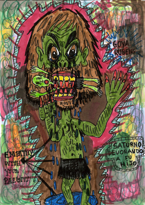 """Saturn devouring his son"" , 2012   Marker on paper, 21 x 29.7 cm"